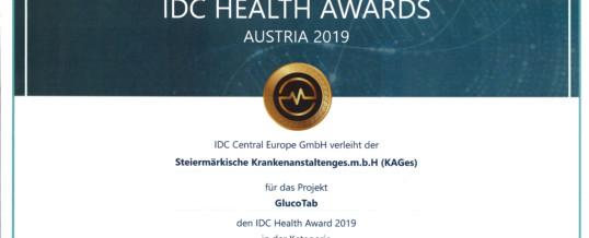 KAGes wird für GlucoTab Projekt mit dem IDC Health Award ausgezeichnet