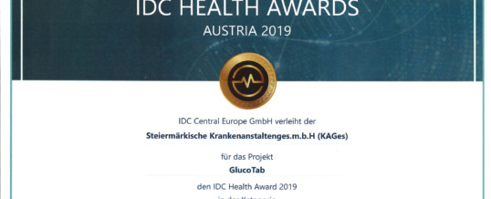 KAGes receives IDC Health Award for GlucoTab project